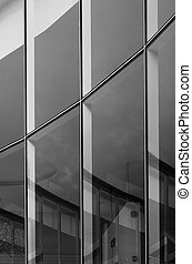 Glass wall building with reflection