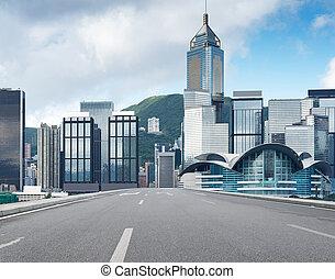 Hong Kong view of Victoria Harbor, Hong Kong Island business...