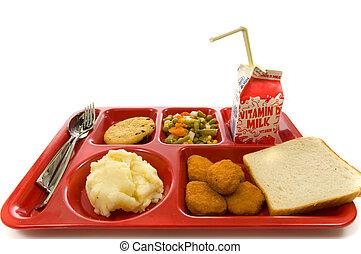escuela, almuerzo, bandeja