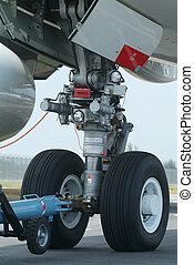 Nose wheel of wide-body airplane - Nose wheel (front landing...
