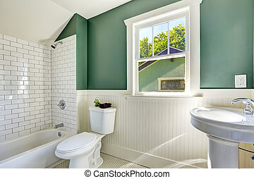 Bathroom interior with white and green wall trim - White...