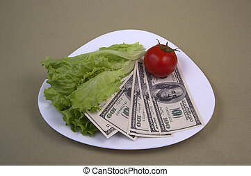 Money and the food on the plate 14