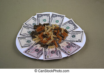 Money and the food on the plate 10
