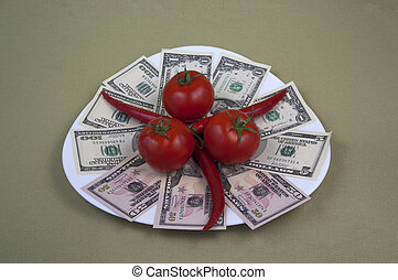 Money and the food on the plate 9