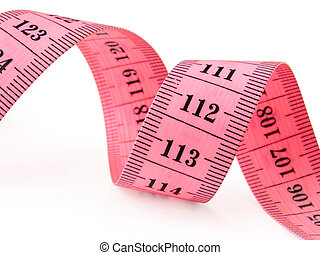 measuring tape - pink curved measuring tape fragment on...