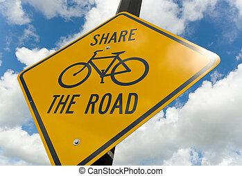 bicicleta, precaución, señal