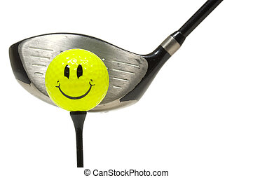 Happy face golf ball and golf club on white background