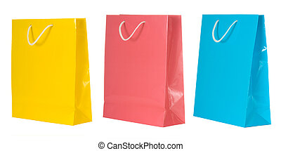 Shopping Bags - Multicolored shopping bags on white...