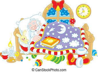 Santa Claus sleeping - Father Christmas sleeps in his bed