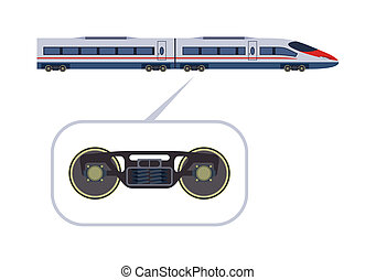 Passenger train - Detailed high-speed train on a white...