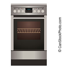 Gas stove - Gas cooker on a white background