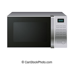 Microwave - Gray microwave oven isolated on white background