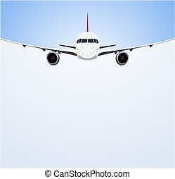 Airliner - Passenger airplane in flight on white and grey...