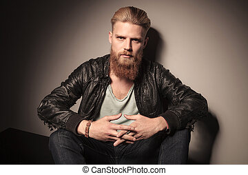 Fashion man in leather jacket - Fashion man with beard, in...