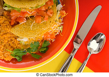 Mexican food plate - Mexican food plaate with tacos, bean...