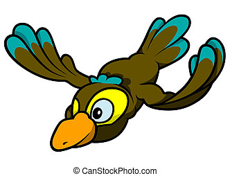 Flying Bird - Colored Cartoon Illustration, Vector