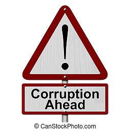 corrupción, adelante, precaución, señal