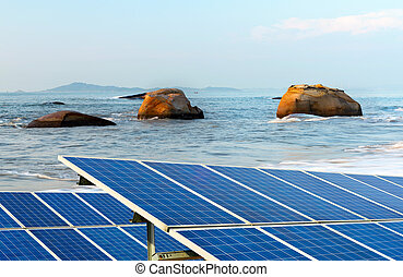 Solar panels - A secluded beach, there are a lot of rocks...