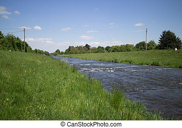 Along Dreisam River - View along the green meadows at...