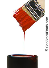 Dripping Paint - Dripping red paint against a bright white...