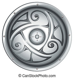 A viking's shield - Illustration of a viking's shield on a...