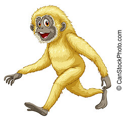 A yellow gorilla - Illustration of a yellow gorilla on a...