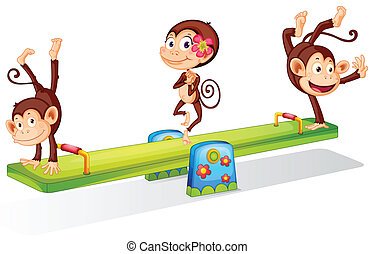 Three playful monkeys playing with the seesaw - Illustration...