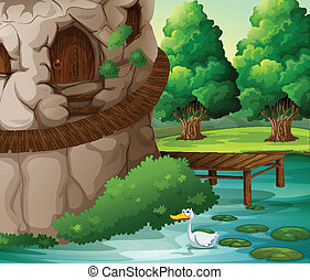 A beautiful scenery with a duck - Illustration of a...