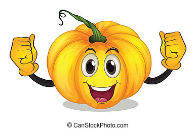 A strong squash with a smiling face - Illustration of a...