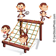 Four playful monkeys - Illustration of the four playful...