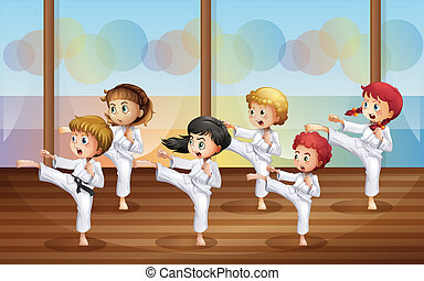 Kids practicing karate - Illustration of the kids practicing...