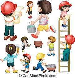 A construction crew - Illustration of a construction crew on...