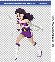 A female violet and white superhero - Illustration of a...