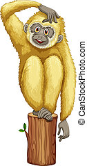 A yellow chimpanzee - Illustration of a yellow chimpanzee on...