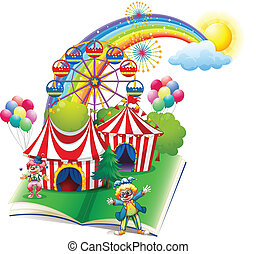 A storybook about the carnival - Illustration of a storybook...