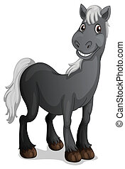 A smiling black horse - Illustration of a smiling black...