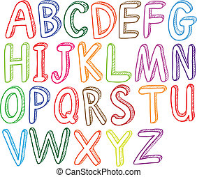 Colorful font styles of the alphabet - Illustration of the...