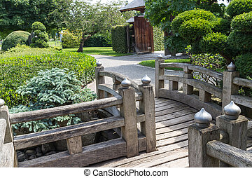 Japanese Garden wooden walkway - Wooden bridge and walkway...