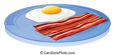 A plate with an egg and a bacon - Illustration of a plate...