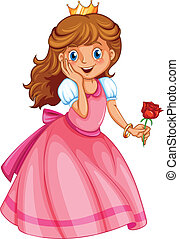 A happy little princess - Illustration of a happy little...