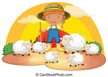 A young boy with his sheeps - Illustration of a young boy...