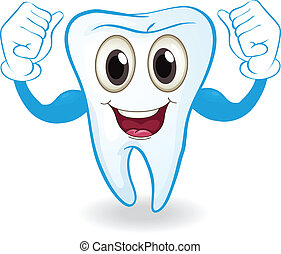 A strong tooth - Illustration of a strong tooth on a white...