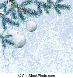 Christmas background with branches and balls - Background...