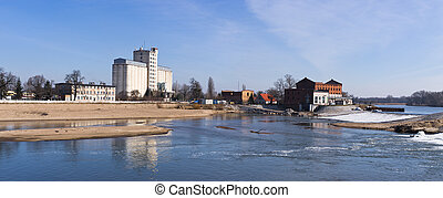 Waterfall on Odra river in Brzeg, Poland - Big waterfall on...