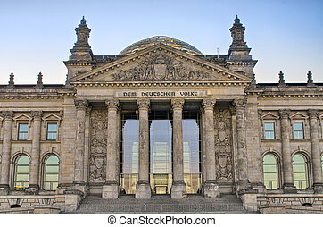 German Reichstag building during the sunrise, Berlin,...