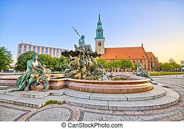 famoso, fuente, Alexanderplatz, Berlín, alemania
