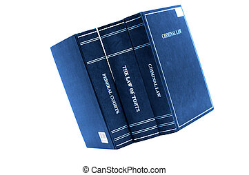 Law Books - Blue Law books on white background