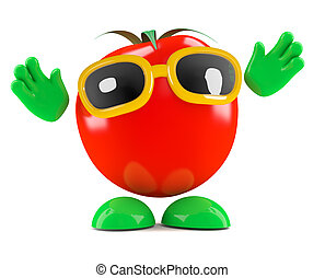 3d Tomato with his hands in the air