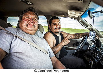 PINE RIDGE INDIAN RESERVATION, SD, USA - JULY 1, 2014: Two...