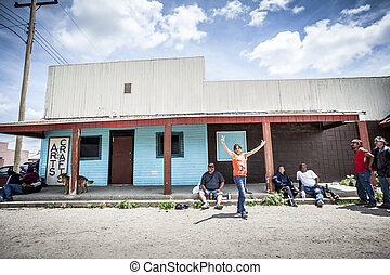 PINE RIDGE INDIAN RESERVATION, SD, USA - JULY 1, 2014: Drunk...